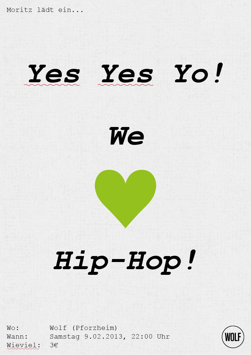 Plakat gruen - We love HipHop